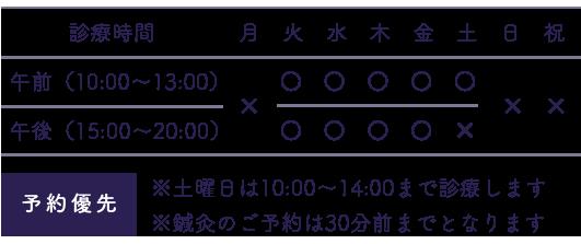 午前(9:00〜12:30)午後(15:00〜19:30)※水、土曜日は9:00〜13:00まで診療します ※鍼灸のご予約は30分前までとなります